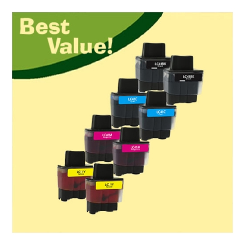 Best Value, Compatible LC41 Ink, 8 pack, 2 each LC$!BK Black, LC41C Cyan, LC41M Magenta, and LC41Y Yellow.