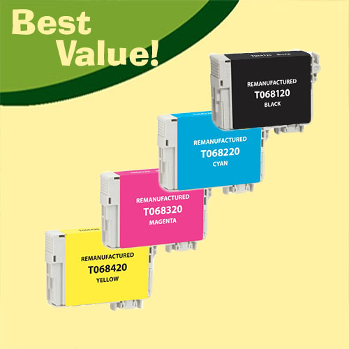 Best Value, Compatible High Yield Bundle of Four (4) Ink Cartridges, 1 T068120-Black, 1 T068220-Cyan, 1 T068320-Magenta, and 1 T068420-Yellow.